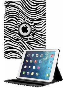 Merkloos iPad Air Case cover 360 graden draaibare hoesje - Zebra Wit / Zwart