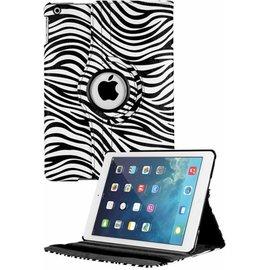 Merkloos iPad Air Case cover 360 graden draaibare hoes met Multi-stand kleur  Zebra Wit / Zwart