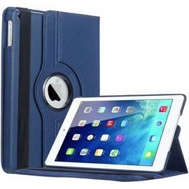 Merkloos iPad Air Case cover 360 graden draaibare hoesje met Multi-stand kleur Donker Blauw