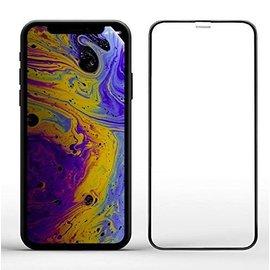 Merkloos iPhone Xr Volledige Dekking Glazen Tempered Glass Zwart