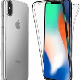 Merkloos iPhone Xs Max Dual TPU Case hoesje 360° Cover 2 in 1 Case ( Voor en Achter) Transparant