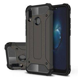 Merkloos Huawei P Smart+ (Plus) Dual layer Rugged Armor hoesje /  Hard PC & TPU Hybrid case Zwart