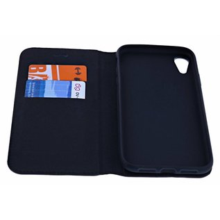 Merkloos Luxe Zwart TPU / PU Leder Flip Cover met Magneetsluiting voor iPhone Xr