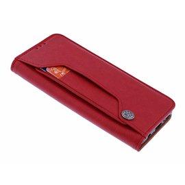 Merkloos iPhone X / Xs Flip Cover met Magneetsluiting en Uitschuifbare Kaartenhouder Rood