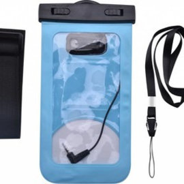 Ntech Neon Multi Functional Waterdichte telefoon hoes Pouch Met headphone Audio Jack voor iPhone Xr  Blauw