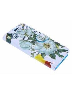 Merkloos iPhone X / Xs 3D Bloemen Design Book Hoesje Met Pasjesruimte & Magneet flapje