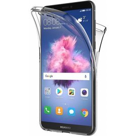 Merkloos Huawei P Smart+ (Plus) Dual TPU Case hoesje 360° Cover 2 in 1 Case ( Voor en Achter) Transparant