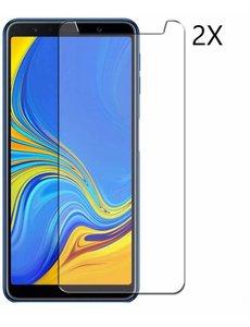 Merkloos 2 Pack Samsung Galaxy A7 (2018) Tempered glass /Beschermglas Screenprotector