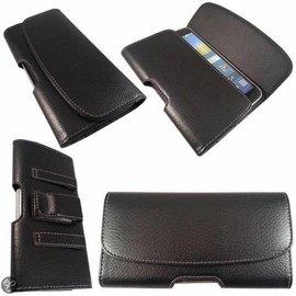 Merkloos Universeel Samsung Galaxy Note 9 / 8 Riem Holster Kunstleer Case Hoesje Kleur Zwart