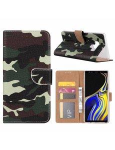 Merkloos Samsung Galaxy Note 9 Camouflage Design Boek hoesje met pasjesruimte