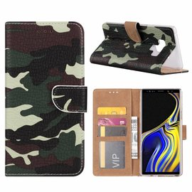 Merkloos Samsung Galaxy Note 9 Camouflage Design Boek Hoesje Met Pasjesruimte & Magneet flapje