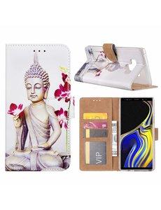 Merkloos Samsung Galaxy Note 9 Boeddha & Bloem Design Boek hoesje met pasjesruimte