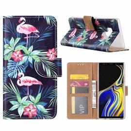 Merkloos Samsung Galaxy Note 9 Flamingo Design Boek Hoesje Met Pasjesruimte & Magneet flapje