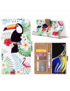 Merkloos Samsung Galaxy Note 9 Toekan Design Boek hoesje met pasjesruimte