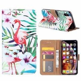 Ntech Ntech iPhone Xs Max Tropische Flamingo Design Boek Hoesje Met Pasjesruimte & Magneet flapje