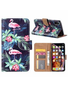 Merkloos iPhone Xs Max Flamingo Design Boek hoesje met pasjesruimte