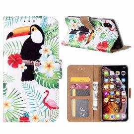 Merkloos iPhone Xs Max Toekan Design Boek Hoesje Met Pasjesruimte & Magneet flapje