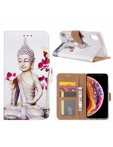 Merkloos iPhone Xr Boeddha & Bloem Design Boek hoesje met pasjesruimte
