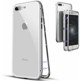 Merkloos Magnetisch iPhone 8+ / 7+  hoesje - ZILVER - voor iPhone 8+ / 7+ (plus versie)