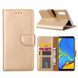 Ntech Ntech Samsung Galaxy A7 2018 Goud Booktype / Portemonnee TPU Lederen Hoesje