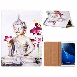 Ntech Ntech Samsung Galaxy Tab A 2018 T590 Boeddha & Bloem Design Booktype Kunstleer Hoesje Met Pasjesruimte