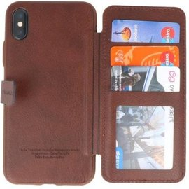 Puloka Puloka iPhone X / Xs Multi Function Back Clip Wallet Case Portomonee Hoesje Bruin