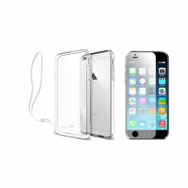 Xundd Xundd iPhone 6 / 6S Transparant lichte TPU ultra clear Hoesje met pols lusje & tempered glass