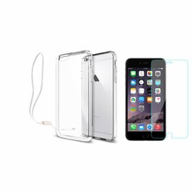 Xundd Xundd iPhone 8+ (Plus) / 7+ (Plus) Transparant lichte TPU ultra clear Hoesje met pols lusje & tempered glass