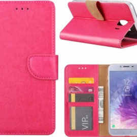 Merkloos Samsung Galaxy J4+ (Plus) 2018 case Roze Portemonnee hoesje met opbergvakjes