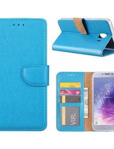 Merkloos Samsung Galaxy J4+ (Plus) 2018 case Blauw Portemonnee hoesje met opbergvakjes