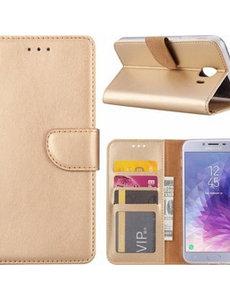 Merkloos Samsung Galaxy J4+ (Plus) 2018 case Goud Portemonnee hoesje met opbergvakjes