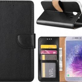 Merkloos Samsung Galaxy J4+ (Plus) 2018 case Zwart Portemonnee hoesje met opbergvakjes
