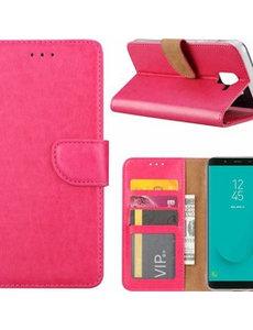 Merkloos Samsung Galaxy J6+ (Plus) 2018 case Roze Portemonnee hoesje met opbergvakjes