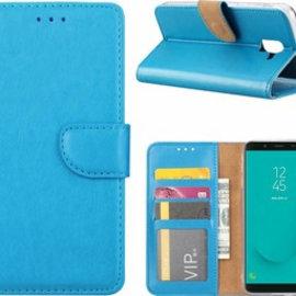 Merkloos Samsung Galaxy J6+ (Plus) 2018 case Blauw Portemonnee hoes met opbergvakjes