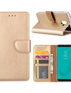 Merkloos Samsung Galaxy J6+ (Plus) 2018 case Goud Portemonnee hoesje met opbergvakjes