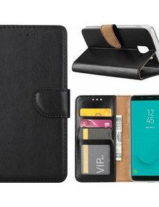 Merkloos Samsung Galaxy J6+ (Plus) 2018 case Zwart Portemonnee hoesje met opbergvakjes