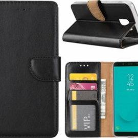 Merkloos Samsung Galaxy J6+ (Plus) 2018 case Zwart Portemonnee hoes met opbergvakjes