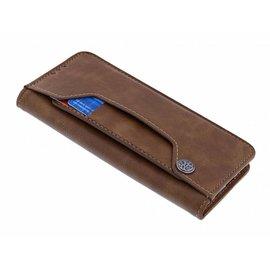 Merkloos Samsung Galaxy A6 Flip Cover met Magneetsluiting en Uitschuifbare Kaartenhouder Bruin