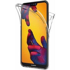 Merkloos Huawei Mate 20 Lite Dual TPU Case hoesje 360° Cover 2 in 1 Case ( Voor en Achter) Transparant