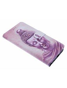 Merkloos Samsung Galaxy J4+(Plus) Boeddha Design Boek hoesje met pasjesruimte
