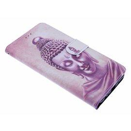Merkloos Samsung Galaxy J4+(Plus) Boeddha Design Boek Hoesje Met Pasjesruimte & Magneet flapje