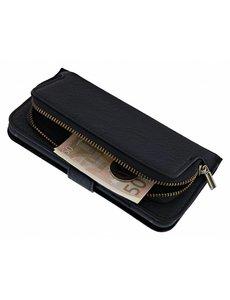 Merkloos iPhone 8 / 7 Boek Hoesje met Rits & Lusje & Pasjesruimte Magneetflapje Zwart
