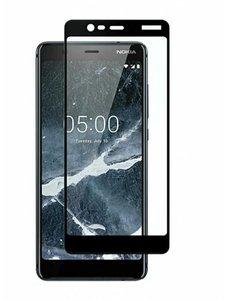 Merkloos Nokia 5.1 full cover Screenprotector Tempered Glass Zwart