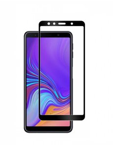 Merkloos Samsung Galaxy A7 2018 full cover Screenprotector Tempered Glass Zwart