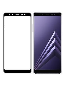 Merkloos Samsung Galaxy A7 2018 Full Glue Screenprotector Adhesive Cover tempered glass Zwart