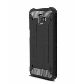 Merkloos Samsung Galaxy J6+ (Plus) Zwart Anti Shock Dual Layer Hybrid Armor Carbon hoesje