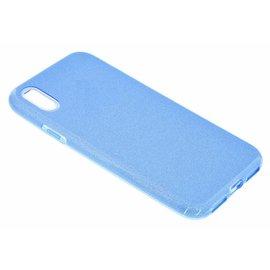 Merkloos iPhone Xr Blauw Glitter TPU Back Cover Hoesje
