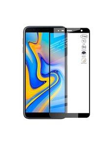 Merkloos Samsung Galaxy J4+ Plus / J6+ Plus 2018 Full Glue Screenprotector Adhesive Cover tempered glass Zwart