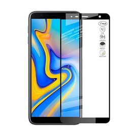 Merkloos Samsung Galaxy J4+ Plus / J6+ Plus 2018 Full Glue Screen protector Adhesive Cover tempered glass Zwart