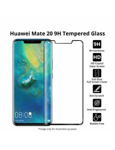 Merkloos Huawei Mate 20 Pro full cover Screenprotector Tempered Glass Zwart